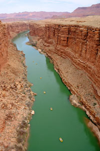 Rafters Float through  Marble Canyon - Arizona